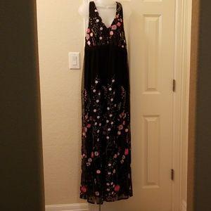 Black floral halter maxi dress